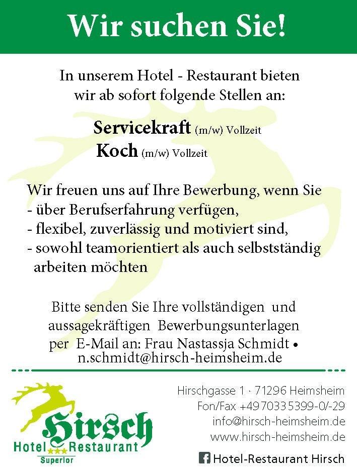 Servicekraft m/w (Vollzeit) Koch m/w (Vollzeit)